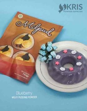 Bubuk pudding blueberry kemasan 750 gr Milpud