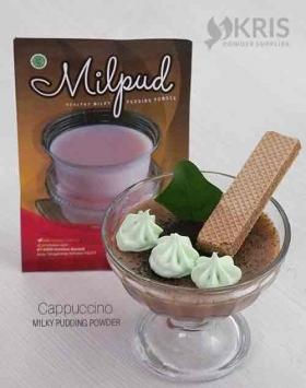 Bubuk pudding cappuccino kemasan 75 gr Milpud