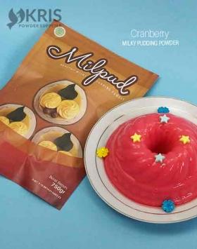 Bubuk pudding cranberry kemasan 750 gr Milpud