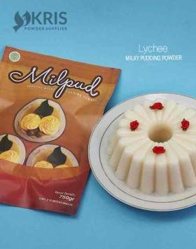 Bubuk pudding lychee kemasan 750 gr Milpud