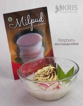 Bubuk pudding raspberry kemasan 75 gr Milpud