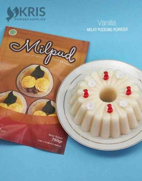Bubuk pudding vanilla kemasan 750 gr Milpud